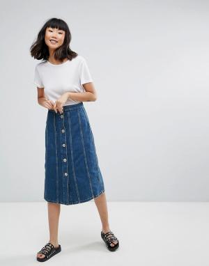MiH Jeans Джинсовая юбка миди со вставками M.i.h Simone. Цвет: синий