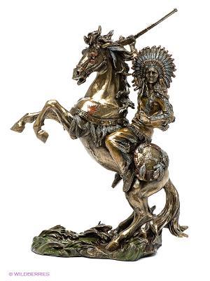 Статуэтка Индеец на коне Veronese. Цвет: темно-серый, золотистый