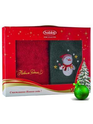 Махровое полотенце в коробке 50х90*2 Новый год, V16 HOBBY HOME COLLECTION. Цвет: зеленый, красный