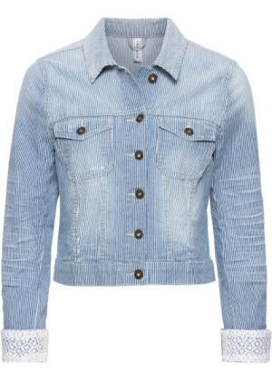 Куртка джинсовая (индиго в полоску) bonprix. Цвет: индиго в полоску