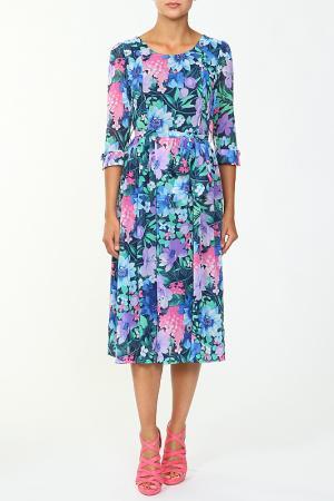 Платье с поясом Eve. Цвет: синий, розовый
