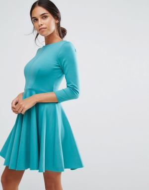 Closet London Короткое приталенное платье из двойного трикотажа. Цвет: зеленый