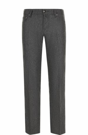 Шерстяные брюки прямого кроя Jacob Cohen. Цвет: серый
