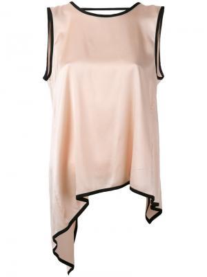 Асимметричная расклешенная блузка Jucca. Цвет: розовый и фиолетовый