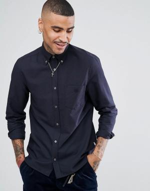 Aquascutum Темно-синяя оксфордская рубашка на пуговицах с логотипом кармане Aq. Цвет: темно-синий