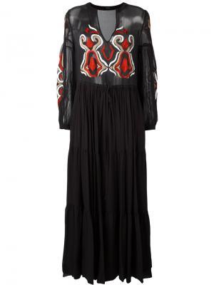 Длинное платье с вышивкой Wandering. Цвет: чёрный