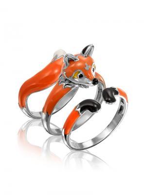 Сет из трех колец Лисичка KU&KU. Цвет: коричневый, оранжевый, рыжий