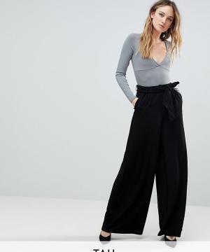 Y.A.S Tall Широкие брюки с завышенной талией. Цвет: черный