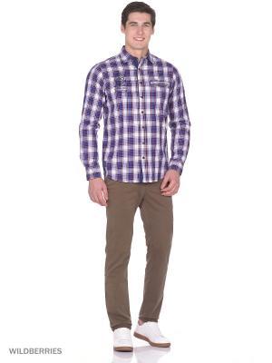 Рубашка Boston Brothers. Цвет: синий, бордовый, белый