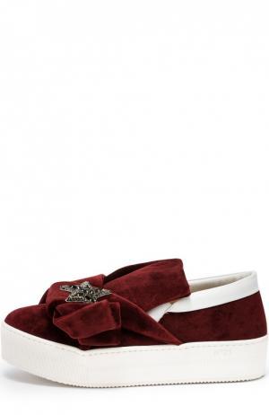 Текстильные слипоны с бантом и брошью No. 21. Цвет: бордовый