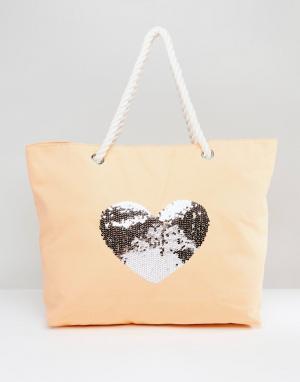 South Beach Выбеленная хлопковая пляжная сумка с пайетками. Цвет: розовый