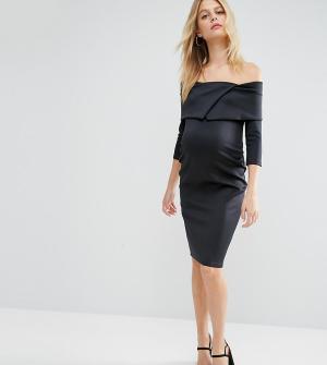 ASOS Maternity Платье для беременных с широким вырезом и плиссировкой. Цвет: черный