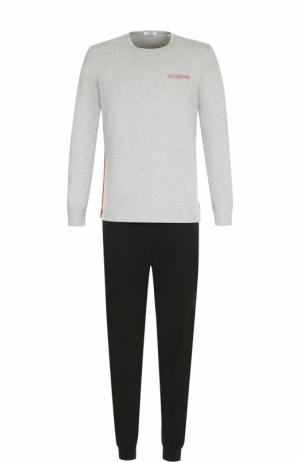 Хлопковая пижама с брюками Dirk Bikkembergs. Цвет: серый