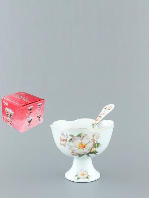 Креманка Белый шиповник Elan Gallery. Цвет: белый, зеленый