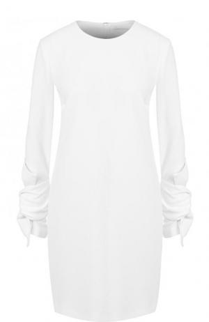 Однотонное мини-платье с длинным рукавом и драпировкой Victoria, Victoria Beckham. Цвет: белый