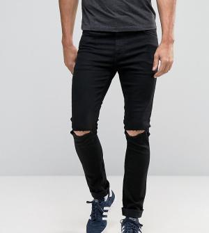 Noak Черные рваные джинсы скинни. Цвет: черный