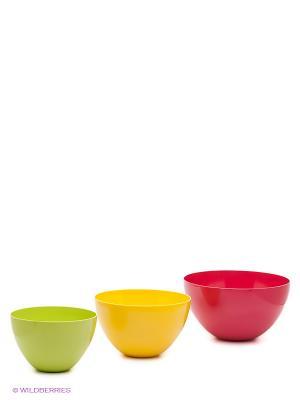 Набор мисок для салата BBQ HOT SUMMER 3 Zak!designs. Цвет: желтый, красный, светло-зеленый