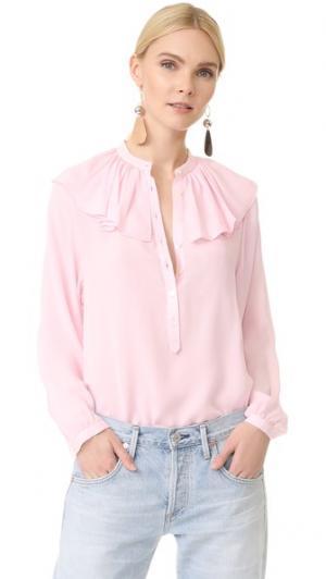 Шелковая блуза с оборками на вырезе Robert Rodriguez. Цвет: розовый