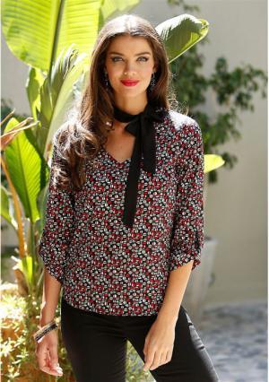 Блузка MY STYLE. Цвет: черный/серый