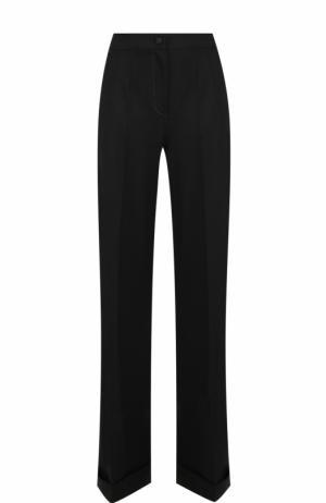 Шерстяные расклешенные брюки с контрастной прострочкой Dolce & Gabbana. Цвет: черный