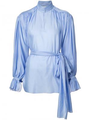 Присборенная блуза с высоким воротом Vika Gazinskaya. Цвет: синий