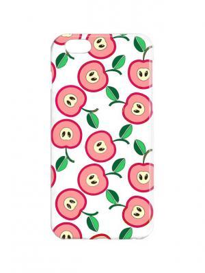 Чехол для iPhone 6Plus Принт с яблоками Арт. 6Plus-267 Chocopony. Цвет: розовый, белый, зеленый