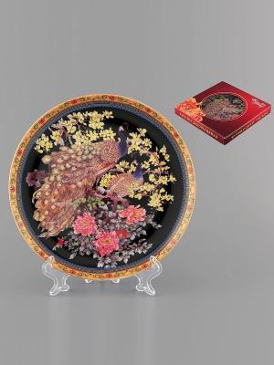 Тарелка декоративная Павлин Elan Gallery. Цвет: черный, синий, коричневый, розовый, желтый