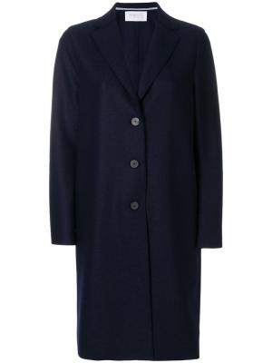 Длинное пальто на пуговице Harris Wharf London. Цвет: синий