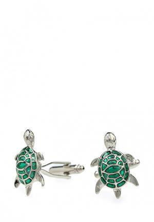 Запонки Churchill accessories. Цвет: зеленый