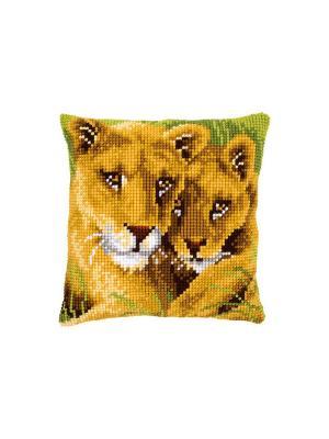 Набор для вышивания лицевой стороны наволочки Львица и львёнок 40*40см Vervaco. Цвет: зеленый, коричневый, оранжевый