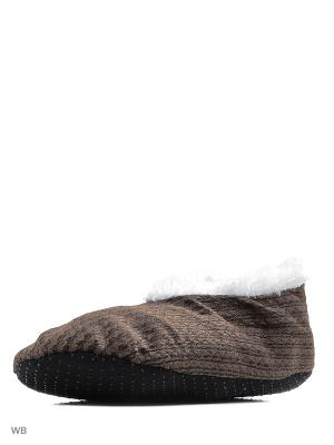 Носки-тапочки HOBBY LINE. Цвет: темно-коричневый