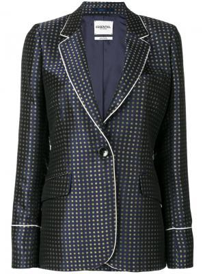 Блейзер с вышивкой Essentiel Antwerp. Цвет: синий