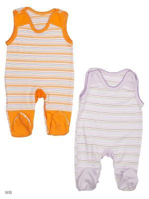 Полукомбинезон, 2 штуки Babycollection. Цвет: оранжевый, сиреневый