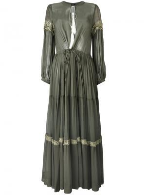 Длинное плиссированное платье Wandering. Цвет: зелёный