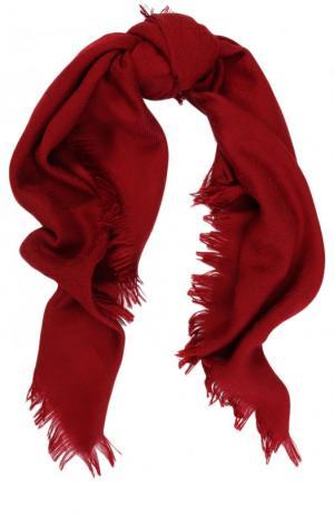 Платок из шерсти и шелка с бахромой Gucci. Цвет: красный