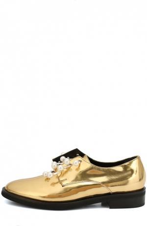 Кожаные ботинки Anello с декорированными полукольцами Coliac. Цвет: золотой