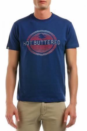 Футболка Hot Buttered. Цвет: синий