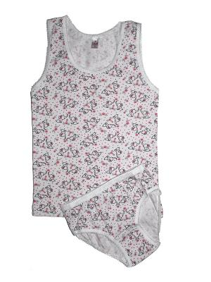 Комплект белья Ots. Цвет: белый, розовый