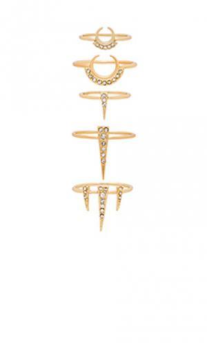 Набор из 5 колец crescent spike Luv AJ. Цвет: металлический золотой
