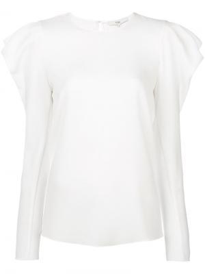 Блузка с объемными присборенными плечами Tibi. Цвет: белый