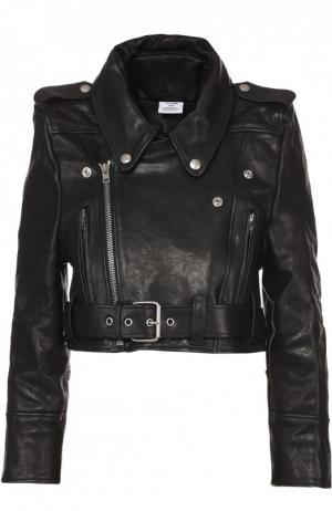 Укороченная кожаная куртка с косой молнией Vetements. Цвет: черный