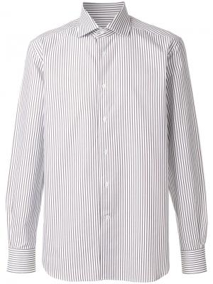 Рубашка в полоску Corneliani. Цвет: белый
