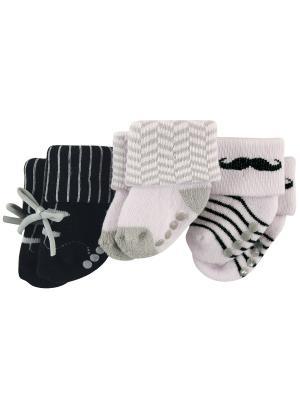 Носочки, 3 пары Luvable Friends. Цвет: светло-серый