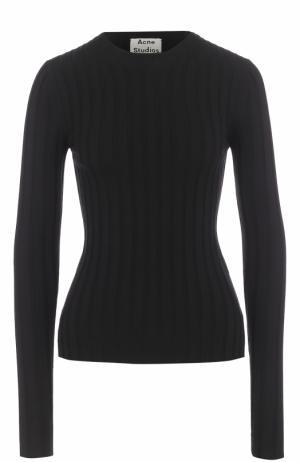 Облегающий шерстяной пуловер с круглым вырезом Acne Studios. Цвет: черный