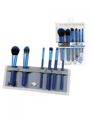 Royal&langnickel  MODA TOTAL FACE SET. Набор кистей для макияжа всего лица в чехле. Цвет: синий