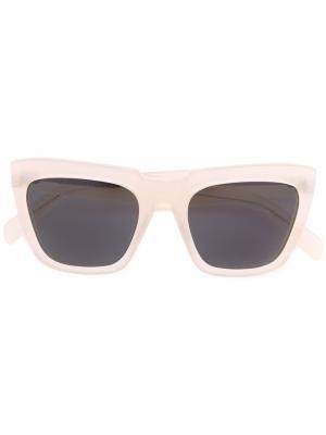 Солнцезащитные очки в квадратной оправе Zanzan. Цвет: телесный