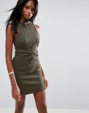 ASOS Платье мини с лифом-корсетом без рукавов открытой спиной. Цвет: зеленый