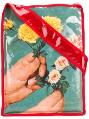 Сумка на плечо с принтом цветами Molly Goddard. Цвет: синий