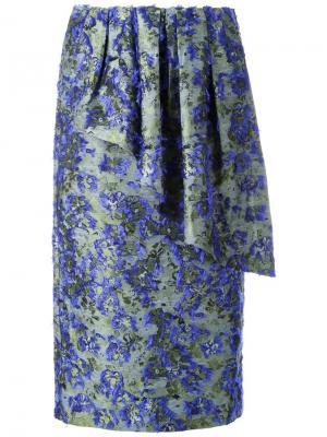 Драпированная юбка с цветочным узором Jourden. Цвет: зелёный