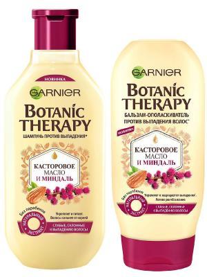 Шампунь+бальзам Botanic Therapy. Касторовое масло и миндаль для ослабленных волос, 250+200 мл Garnier. Цвет: белый